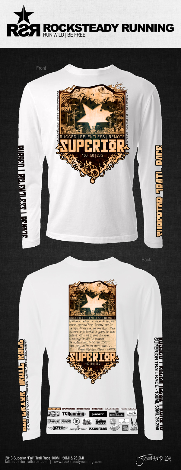 """2013 Superior """"Fall"""" Trail Race 100MI, 50MI & 26.2MI Race Shirt"""