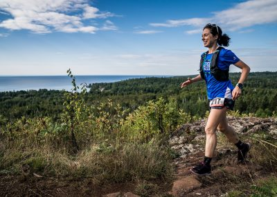 2018 Superior 100 Mile Winner Mallory Richard Above Lake Superior At Split Rock - Photo Credit Ian Corless