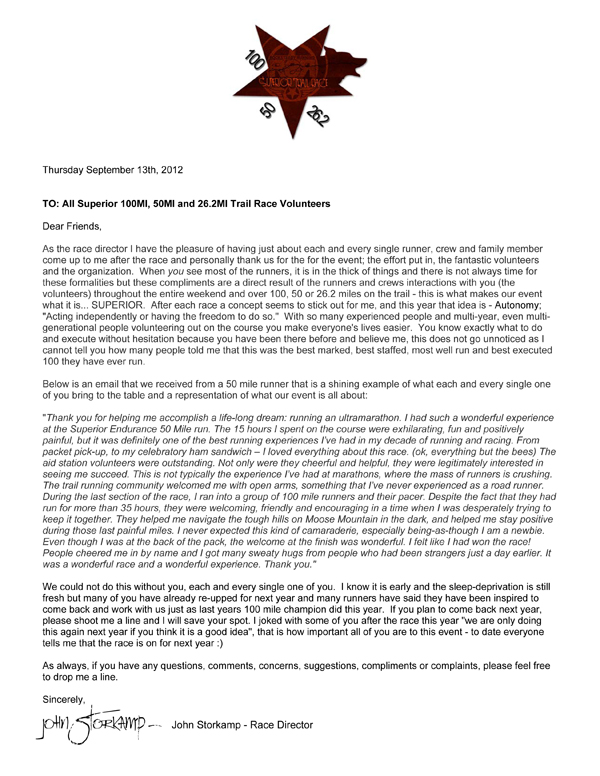 Thank You Letter To Volunteers – 2012 | Superior Fall Trail Race
