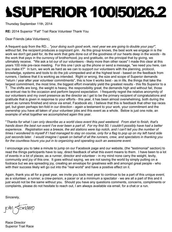 Thank You Letter To Volunteers    Superior Fall Trail Race