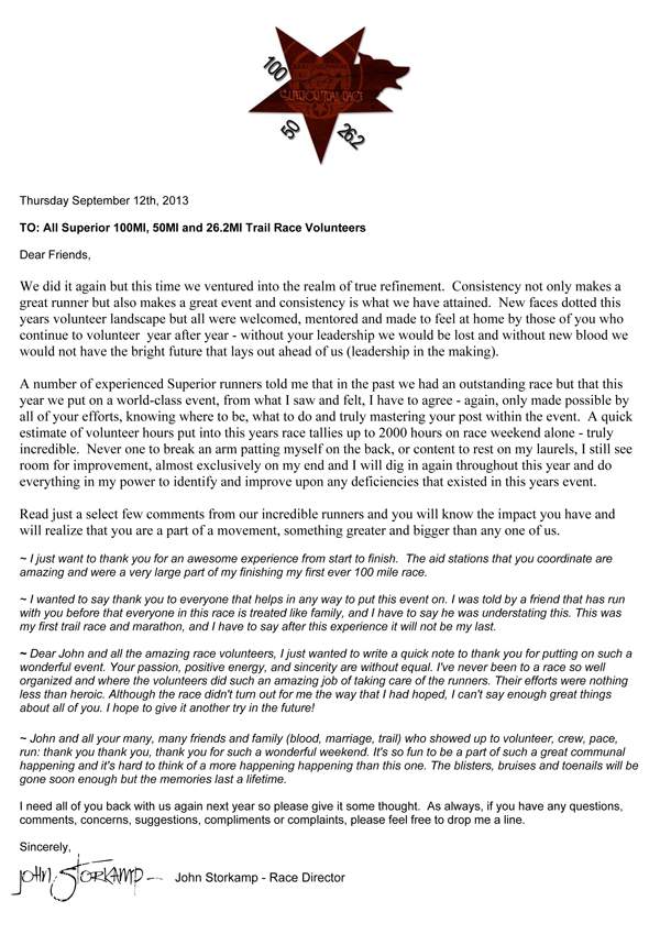 Thank You Letter To Volunteers – 2013 | Superior Fall Trail Race